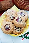 Husarenkrapfen (shortbread jam biscuits) with sliced almonds