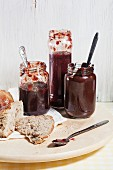 Home-made jam and chocolate spread, served with bread