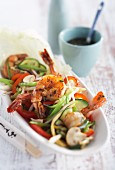 Spicy prawns with stir-fried vegetables (Asia)
