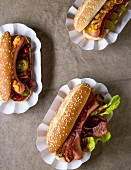 Hot dogs with bacon