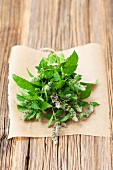 A bunch of fresh, flowering, organic mint