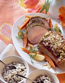 Roast pork chine with almond and chervil crust