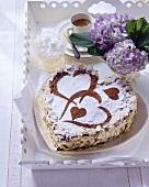 Heart-shaped chocolate gateau with vanilla mascarpone cream