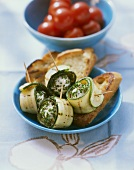 Courgettes rolls with soft cheese filling