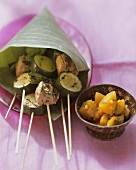 Barbecued meat & courgette kebabs, apricot & ginger sauce