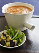Vegetables with tomato and vodka dipping sauce