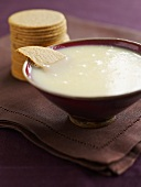 White chocolate sauce with biscuits