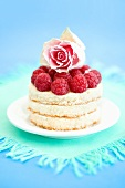 Small sponge cake with raspberries and rose