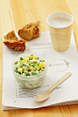 Soft cheese with peas, lemon zest and tarragon