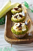 Chocolate muffins with pistachios for football-themed event