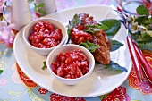 Strawberry salsa to serve with grilled meat