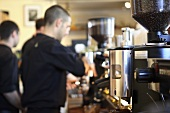 Barista at work in a cafe