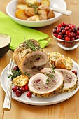 Roast pork roll with mince, cranberry and buckwheat stuffing