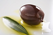 Black olive with olive oil and olive leaf (close-up)