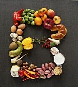 Letter 'B' in vegetables, fruit, mushrooms and other foodstuffs