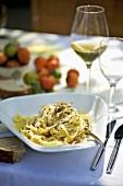 Tagliatelle al tartufo (Ribbon pasta with truffle, Italy)