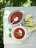 Cold tomato soup with soft cheese