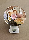 Foods rich in iron on scales