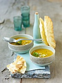 Pea soup with sesame oil and mango