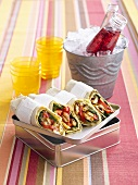 Red pepper and Halloumi wraps
