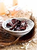 Beetroot crisps with herb yoghurt