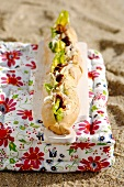 Chicken, beetroot, fennel and orange mayonnaise in baguette
