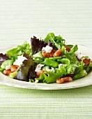 Warm salad of broad beans, pancetta & feta with lemon & herb dressing