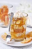 Layered dessert of orange marmalade and meringue