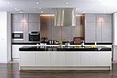 Modern designer kitchen with stainless steel cupboards and kitchen island