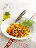 Spaghetti squash with lemon sauce