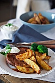Beef steak with potato wedges
