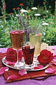 Summer drinks and rose petals