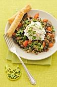 Poached egg on mushroom and olive salad