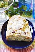 Gooseberry strudel with cream