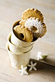 Canestrelli biscuits in stacked beakers
