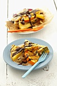 Barbecued fruit with chocolate sauce