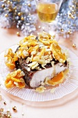 Roast pork with mandarin oranges and flaked almonds (Christmas)