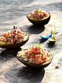 Barbecued avocado with tuna tartare