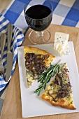Onion and Gorgonzola pizza