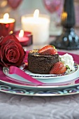Chocolate cake with strawberries for Valentine's Day