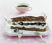 A piece of blackberry sour cream cake