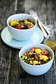 Lentil salad with sweetcorn and cherry tomatoes