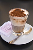 A glass of cappuccino dusted with cocoa