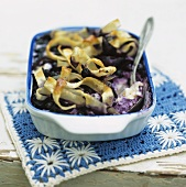 Blueberry pasta pudding