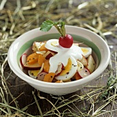 Egg, carrot and radish salad for Easter