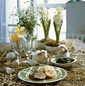 Beef roulade with napkin dumpling on decorated Easter table