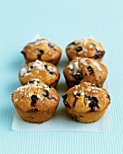 Six blueberry muffins with lemon sugar