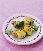 Skewered scallops with coriander, chilli and garlic