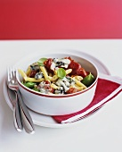 Penne and baby plum tomatoes with melted Gorgonzola