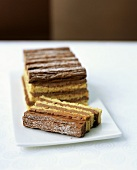 Layer cake with milk chocolate cream filling